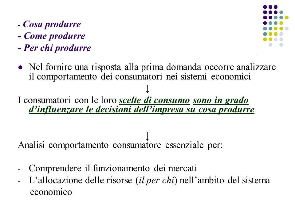 - Cosa produrre - Come produrre - Per chi produrre Nel fornire una risposta alla prima domanda occorre analizzare il comportamento dei consumatori nei