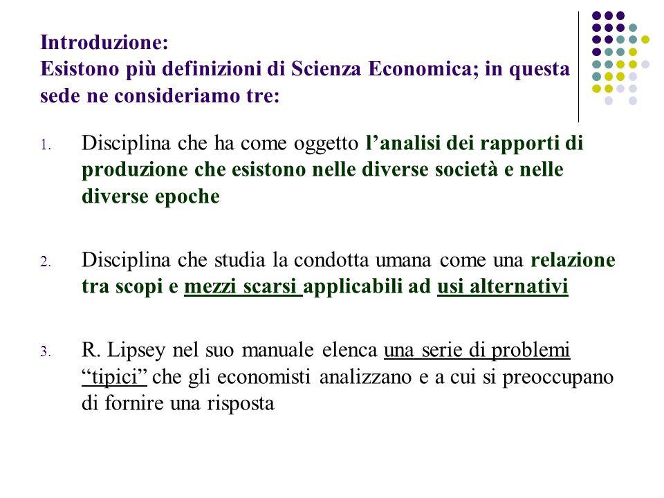 Introduzione: Esistono più definizioni di Scienza Economica; in questa sede ne consideriamo tre: 1. Disciplina che ha come oggetto lanalisi dei rappor