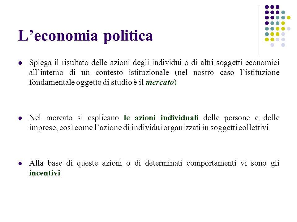 Leconomia politica Spiega il risultato delle azioni degli individui o di altri soggetti economici allinterno di un contesto istituzionale (nel nostro