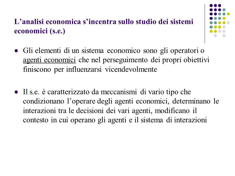Lanalisi economica sincentra sullo studio dei sistemi economici (s.e.) Gli elementi di un sistema economico sono gli operatori o agenti economici che