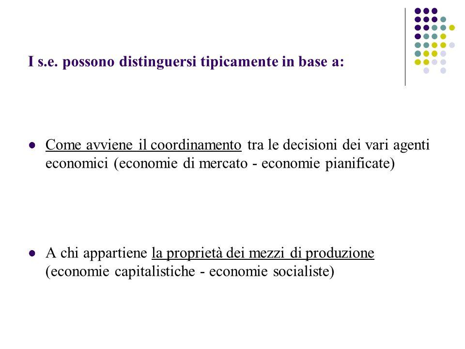 I s.e. possono distinguersi tipicamente in base a: Come avviene il coordinamento tra le decisioni dei vari agenti economici (economie di mercato - eco