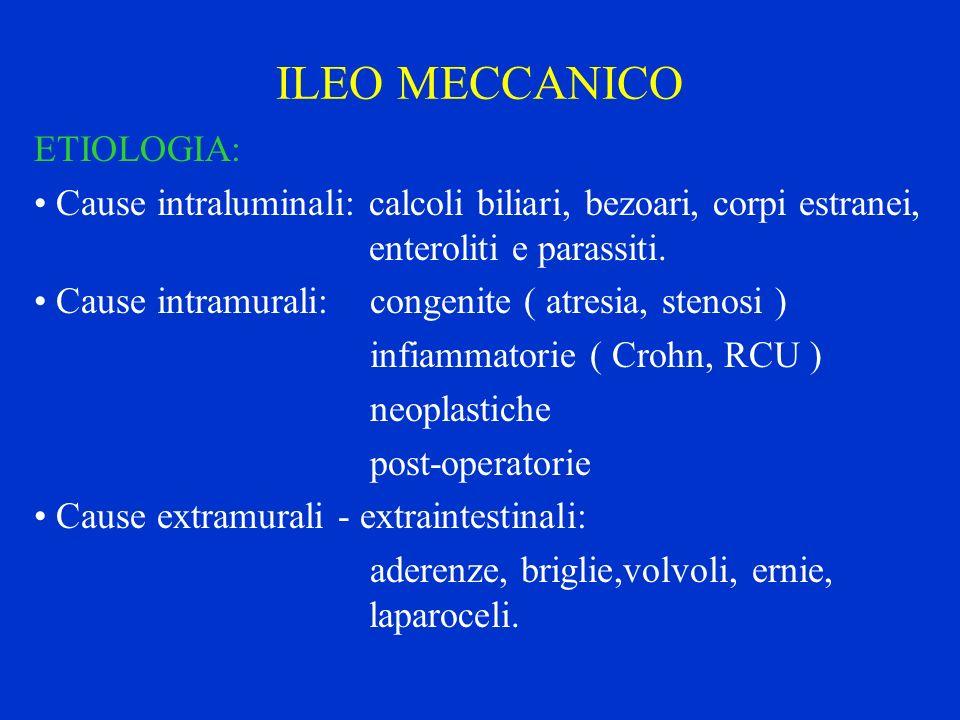 ILEO MECCANICO ETIOLOGIA: Cause intraluminali: calcoli biliari, bezoari, corpi estranei, enteroliti e parassiti. Cause intramurali: congenite ( atresi