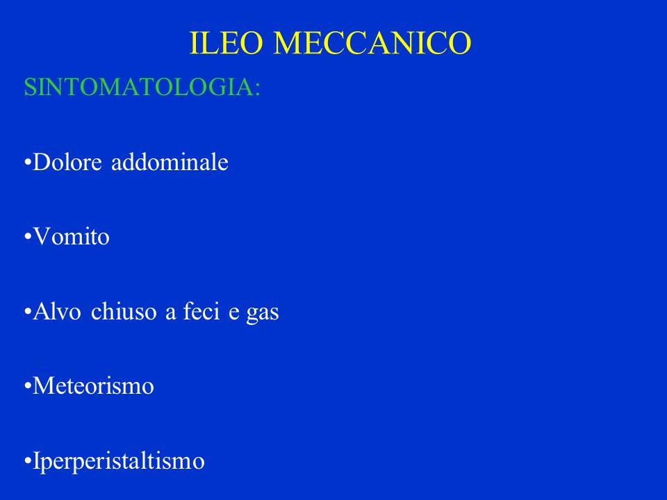 ILEO MECCANICO SINTOMATOLOGIA: Dolore addominale Vomito Alvo chiuso a feci e gas Meteorismo Iperperistaltismo