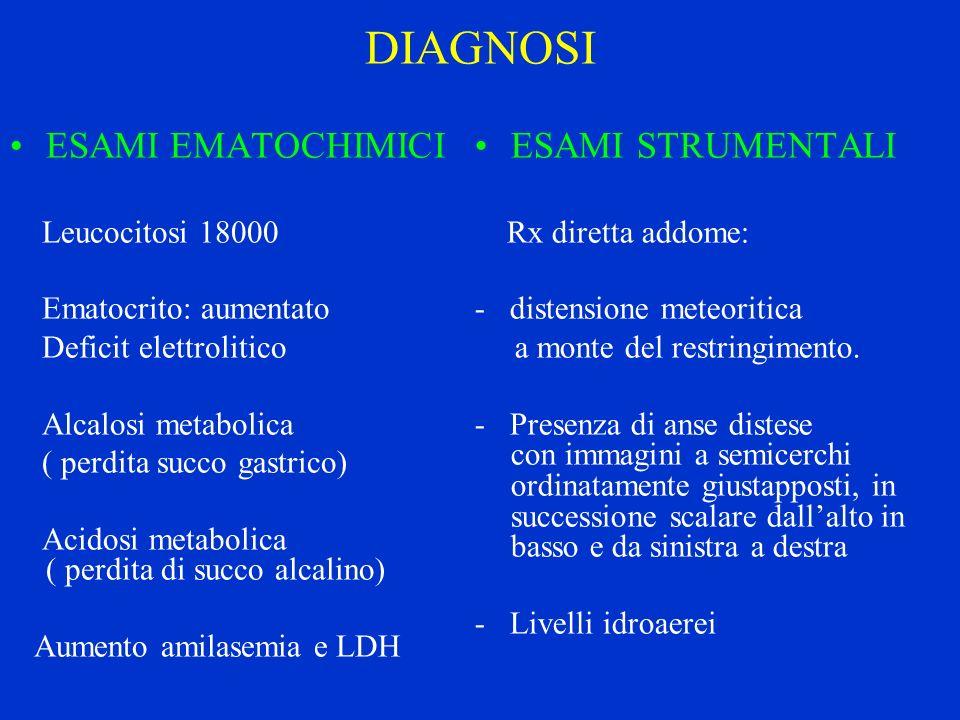 DIAGNOSI ESAMI EMATOCHIMICI Leucocitosi 18000 Ematocrito: aumentato Deficit elettrolitico Alcalosi metabolica ( perdita succo gastrico) Acidosi metabo