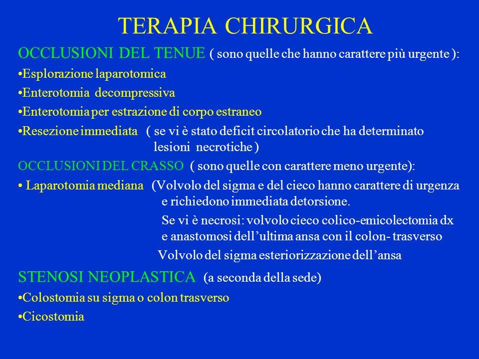 TERAPIA CHIRURGICA OCCLUSIONI DEL TENUE ( sono quelle che hanno carattere più urgente ): Esplorazione laparotomica Enterotomia decompressiva Enterotom