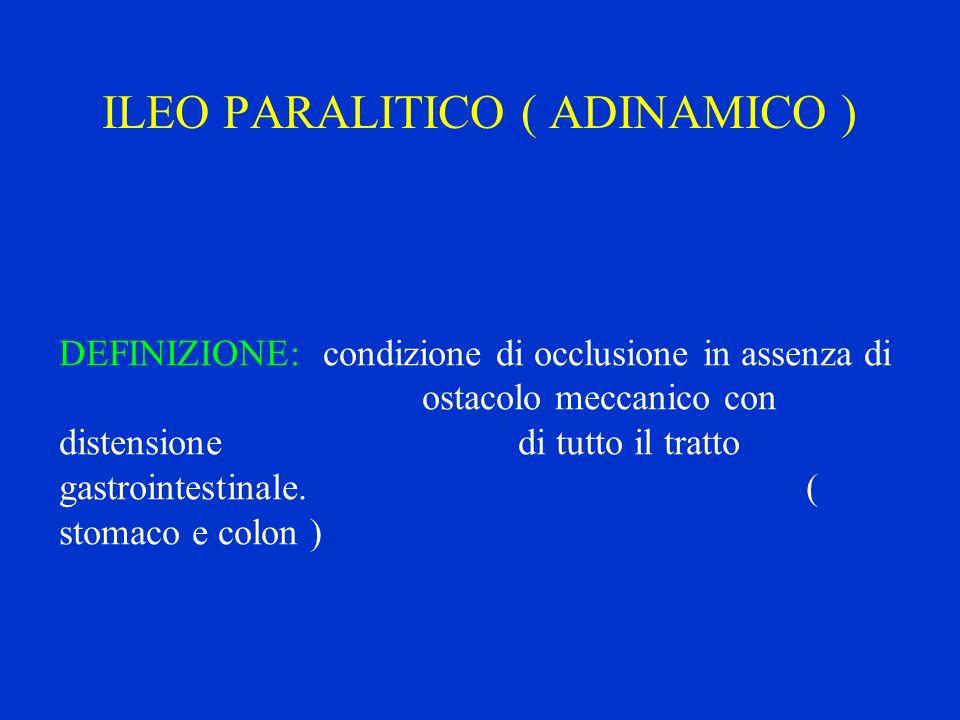 ILEO PARALITICO ( ADINAMICO ) DEFINIZIONE: condizione di occlusione in assenza di ostacolo meccanico con distensione di tutto il tratto gastrointestin
