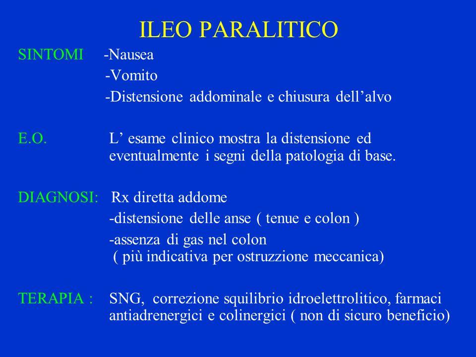 ILEO PARALITICO SINTOMI -Nausea -Vomito -Distensione addominale e chiusura dellalvo E.O. L esame clinico mostra la distensione ed eventualmente i segn