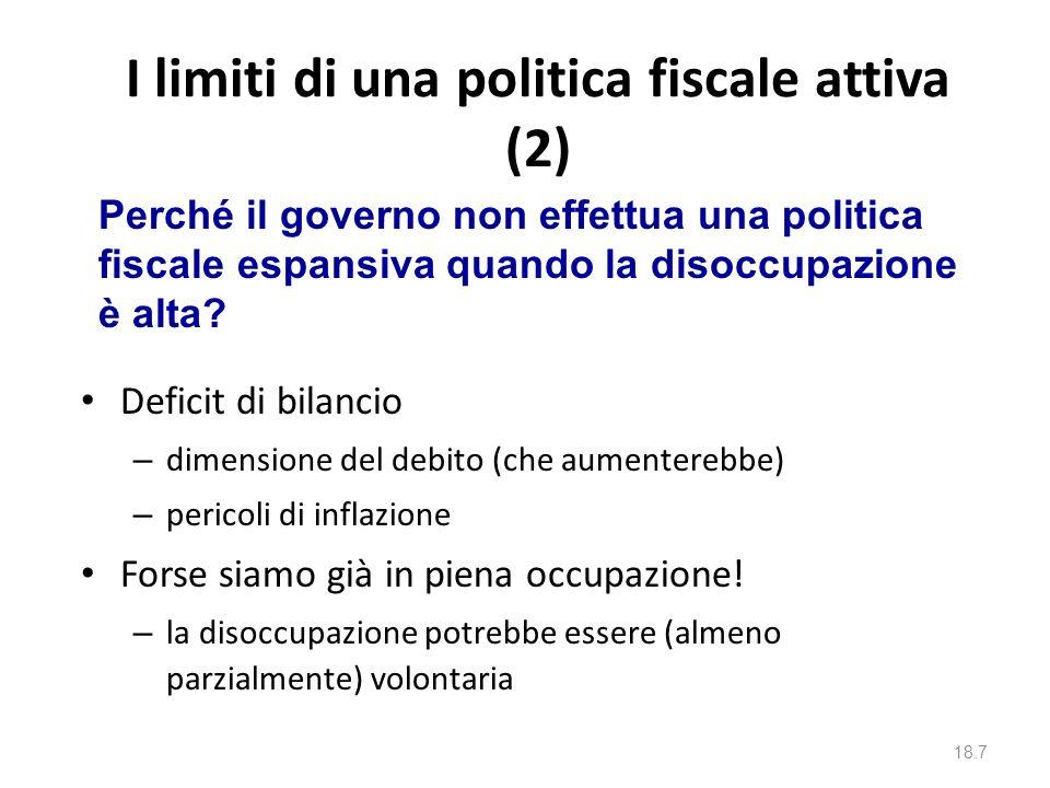 I limiti di una politica fiscale attiva Tempo: richiede tempo – rilevare il problema – compiere unazione che metta in moto il meccanismo del moltiplic