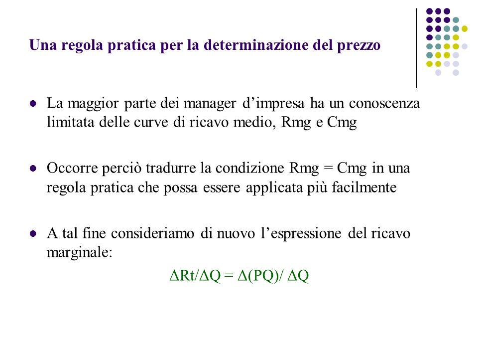 Una regola pratica per la determinazione del prezzo La maggior parte dei manager dimpresa ha un conoscenza limitata delle curve di ricavo medio, Rmg e
