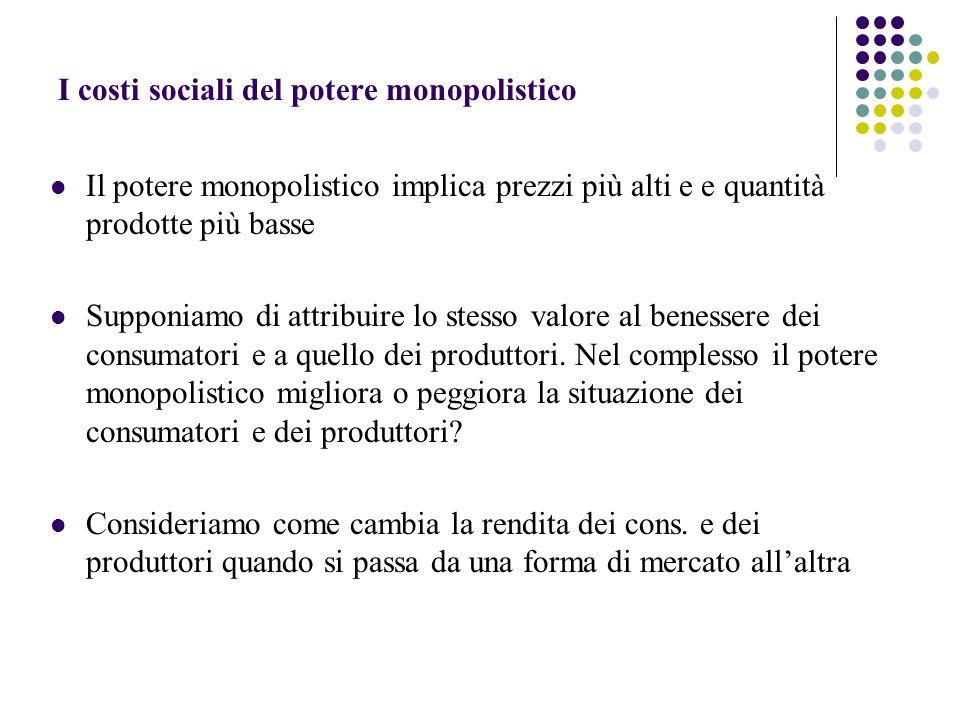 I costi sociali del potere monopolistico Il potere monopolistico implica prezzi più alti e e quantità prodotte più basse Supponiamo di attribuire lo s