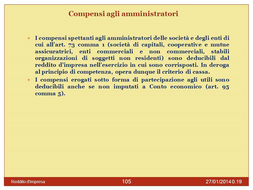 27/01/2014 0.21 Reddito d'impresa 105 Compensi agli amministratori I compensi spettanti agli amministratori delle società e degli enti di cui allart.