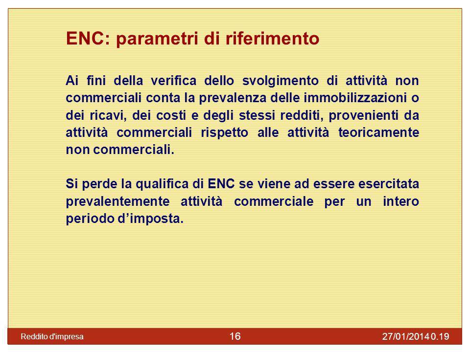 ENC: tassazione Producono, come le persone fisiche, diverse categorie di reddito (tranne redditi da lavoro dipendente) e non necessariamente reddito dimpresa.