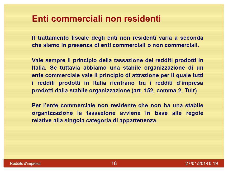 Enti non commerciali non residenti Vale sempre il principio della tassazione dei redditi prodotti in Italia, ma i redditi sono tassati in base alle regole previste per le singole categorie reddituali (art.
