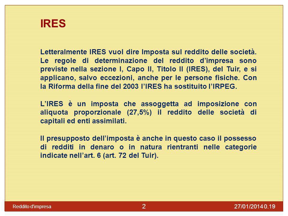 Periodo dimposta per i soggetti IRES Lart.