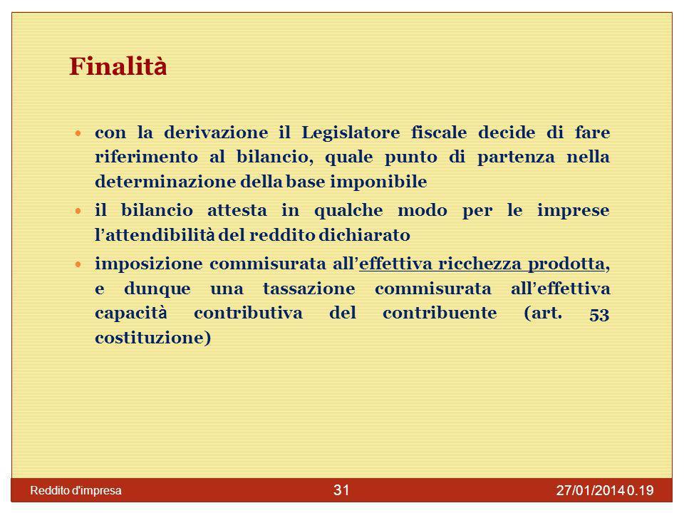 27/01/2014 0.21 Reddito d impresa 32 Cosa prevede il Tuir: soggetti IRES Art.