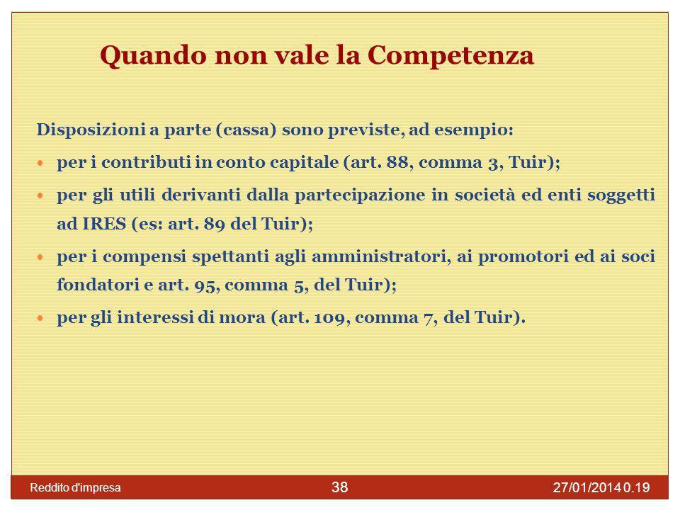 27/01/2014 0.21 Reddito d impresa 39 Competenza Rilevano i fatti che si verificano entro la data di chiusura dellesercizio.