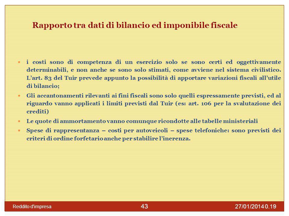 27/01/2014 0.21 Reddito d impresa 44 Competenza con il comma 2, art.