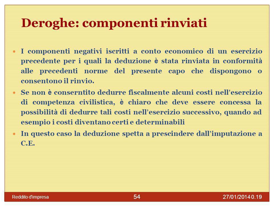 27/01/2014 0.21 Reddito d impresa 55 Deroghe: deduzione ex lege Componenti negativi che pur non essendo imputati a conto economico sono deducibili per disposizioni di legge.