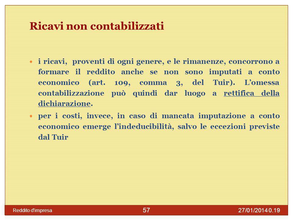 27/01/2014 0.21 Reddito d impresa 58 Inerenza Si tratta di un principio che vale anche ai fini del reddito di lavoro autonomo o per lIVA.
