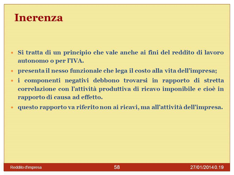 27/01/2014 0.21 Reddito d impresa 59 Inerenza L art.