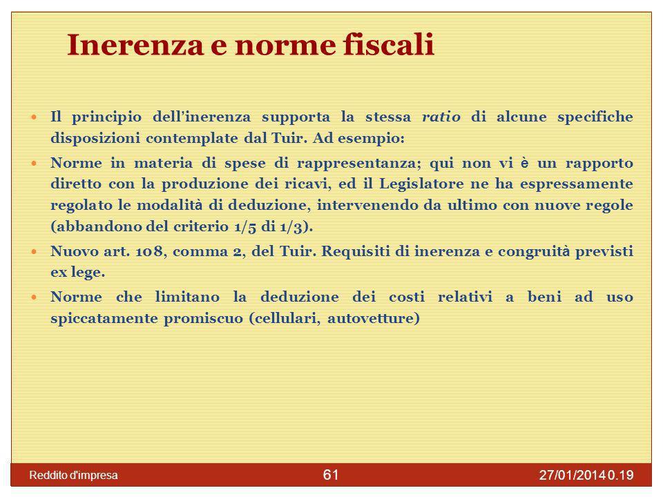 27/01/2014 0.21 Reddito d impresa 62 Riporto delle perdite d impresa per i soggetti IRES Utilizzo cd.