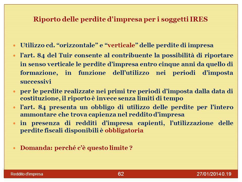 27/01/2014 0.21 Reddito d impresa 63 Esempio: riporto delle perdite d impresa Al contribuente è accordata la possibilità di scegliere le perdite fiscali da utilizzare in compensazione.