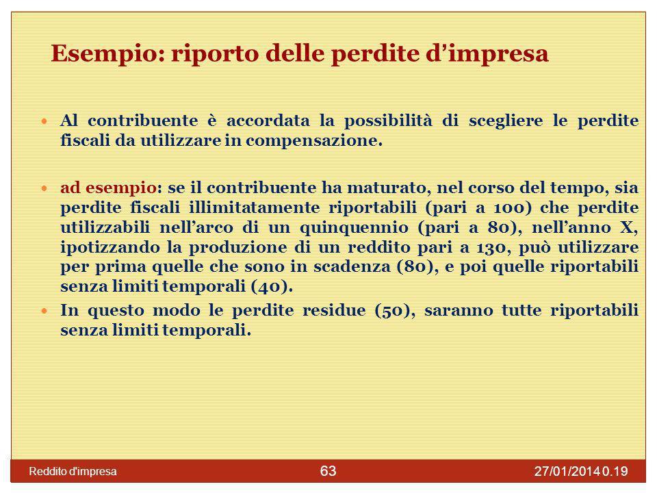 27/01/2014 0.21 Reddito d impresa 64 Valore fiscale dei beni lart.
