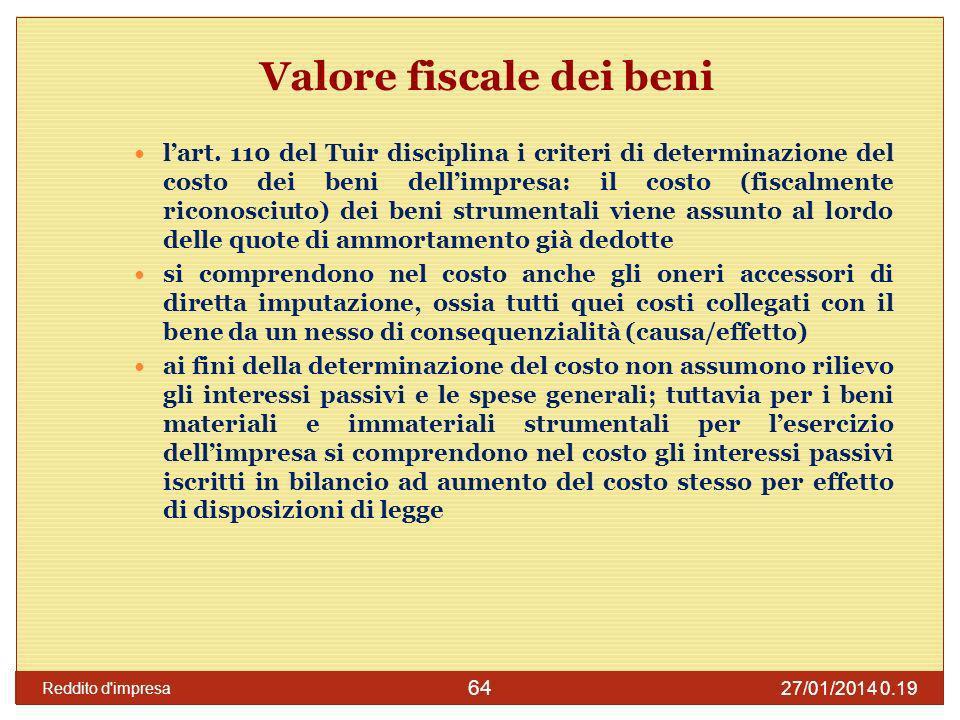 27/01/2014 0.21 Reddito d impresa 65 Ricavi Componenti positivi di reddito (art.