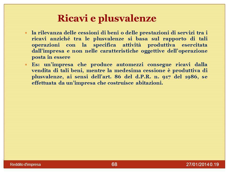 27/01/2014 0.21 Reddito d impresa 69 Ricavi e plusvalenze i ricavi concorrono alla determinazione del reddito dimpresa secondo il principio generale di competenza previsto dal comma 1 dellart.