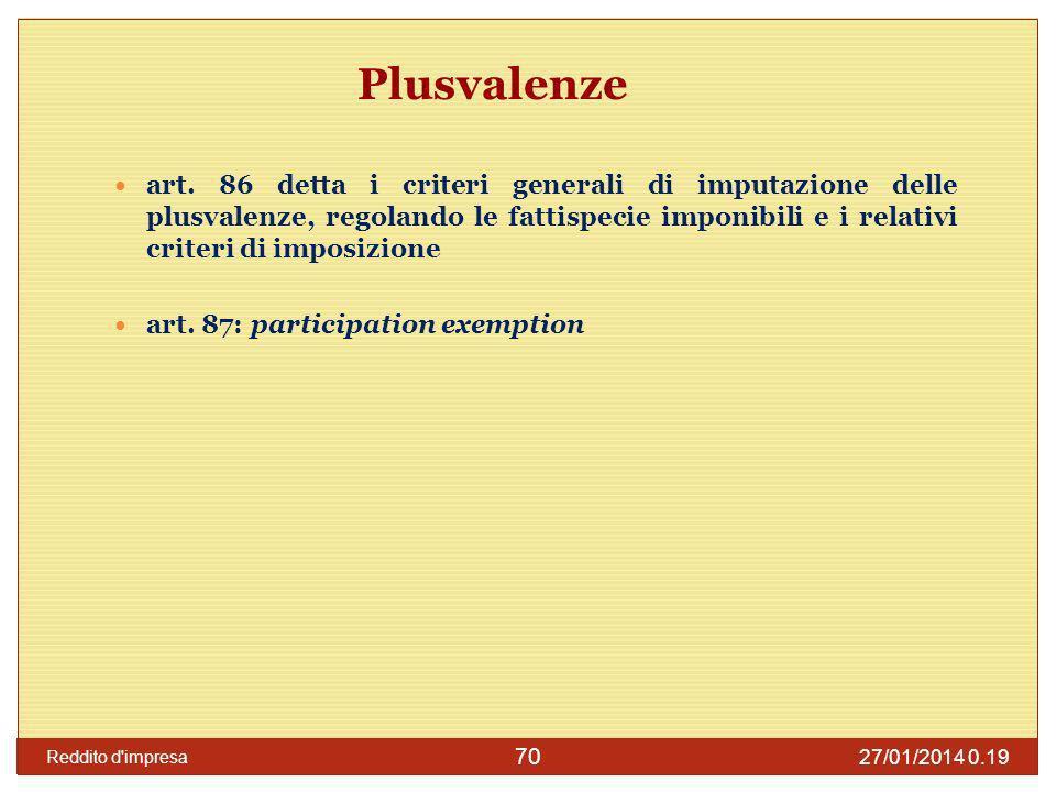 27/01/2014 0.21 Reddito d impresa 71 Plusvalenze lart.