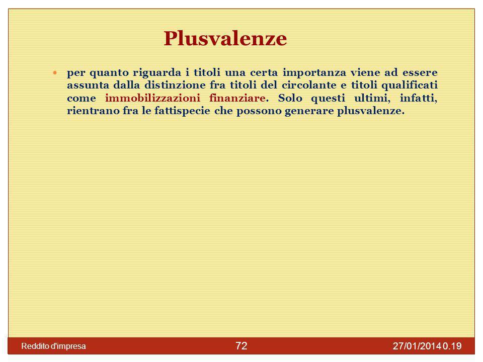 27/01/2014 0.21 Reddito d impresa 73 Calcolo della plusvalenza (art.