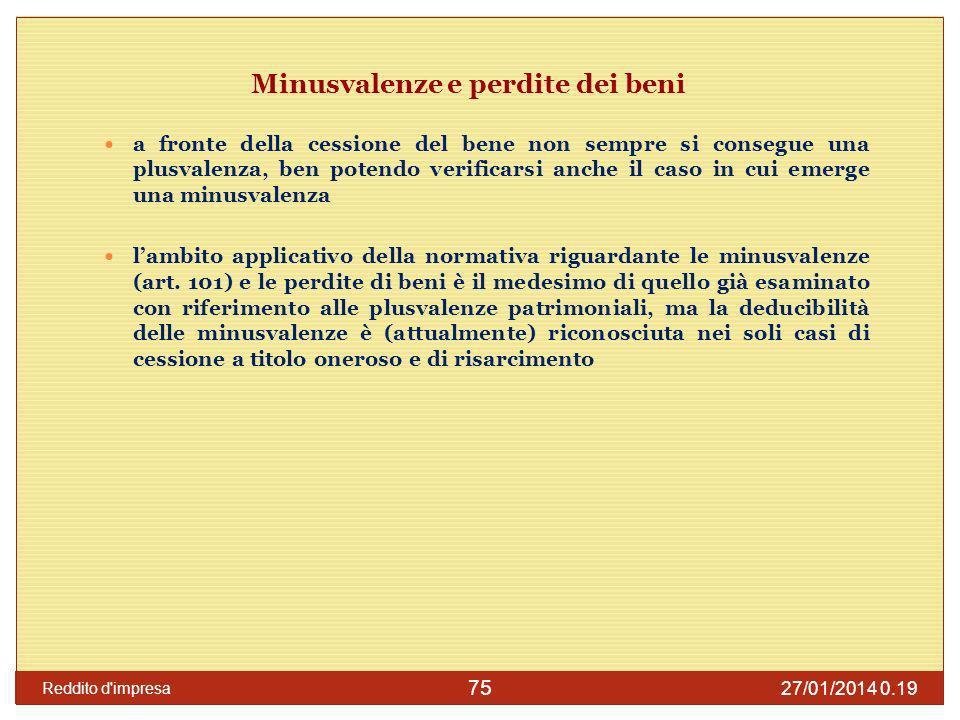27/01/2014 0.21 Reddito d impresa 76 Ammortamento dei beni materiali Il codice civile (art.