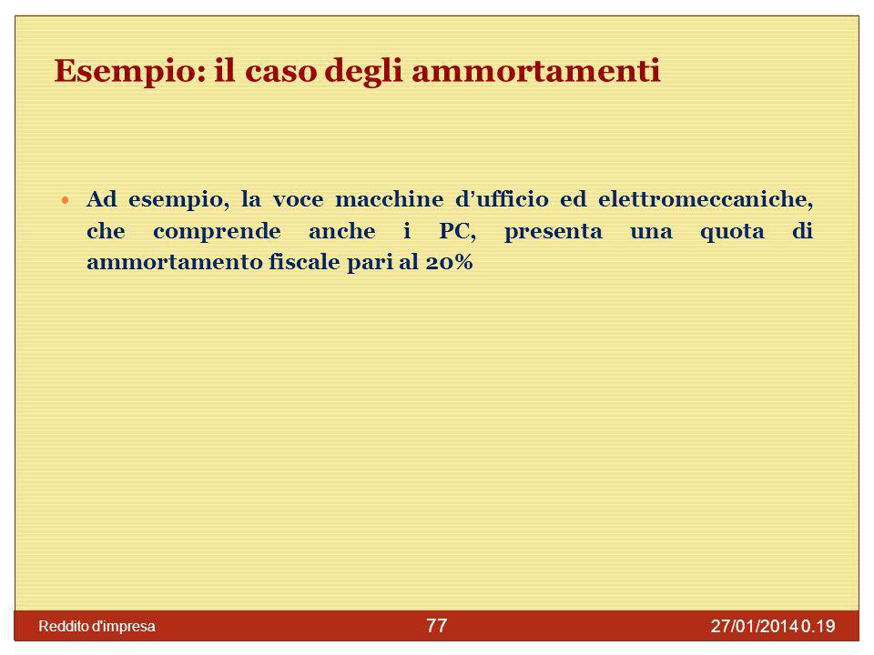 27/01/2014 0.21 Reddito d impresa 78 Un caso pratico Ipotizziamo un caso in cui il costo imputato a conto economico da parte di una S.r.l.
