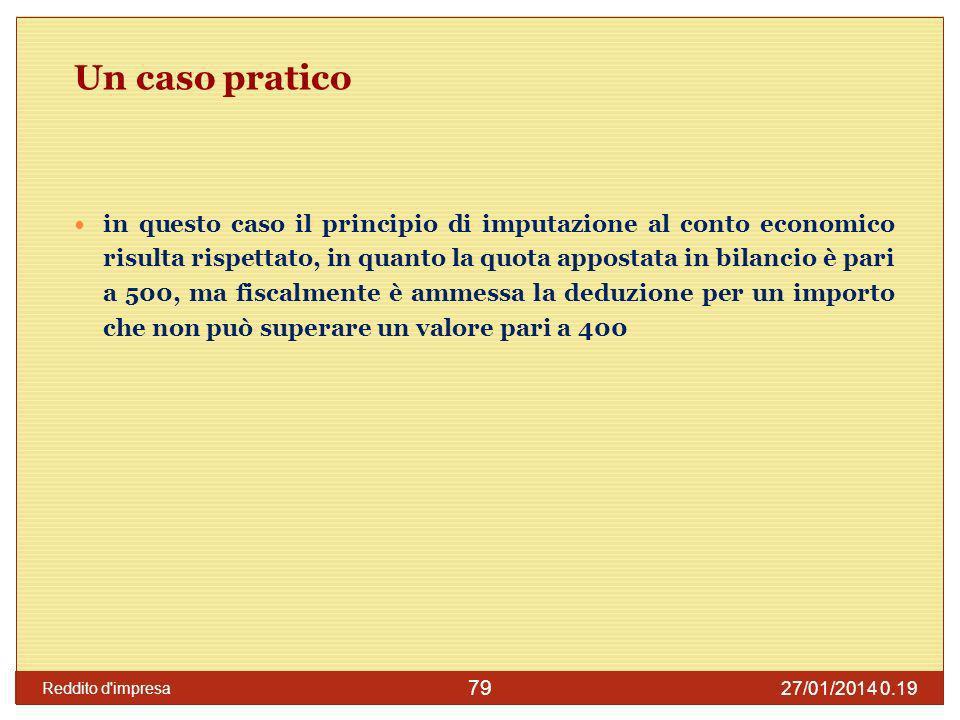 27/01/2014 0.21 Reddito d impresa 80 Un caso pratico: effetti in dichiarazione Nel caso in esame la societ à dichiarante risulta tenuta ad applicare una variazione in aumento nel quadro RF per un importo pari a 100