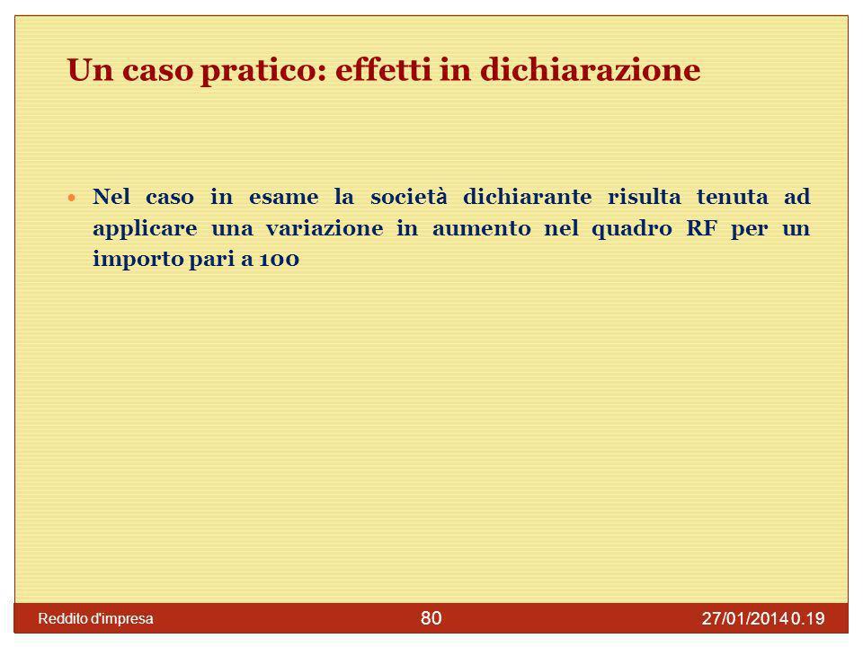 27/01/2014 0.21 Reddito d impresa 81 Caso n.