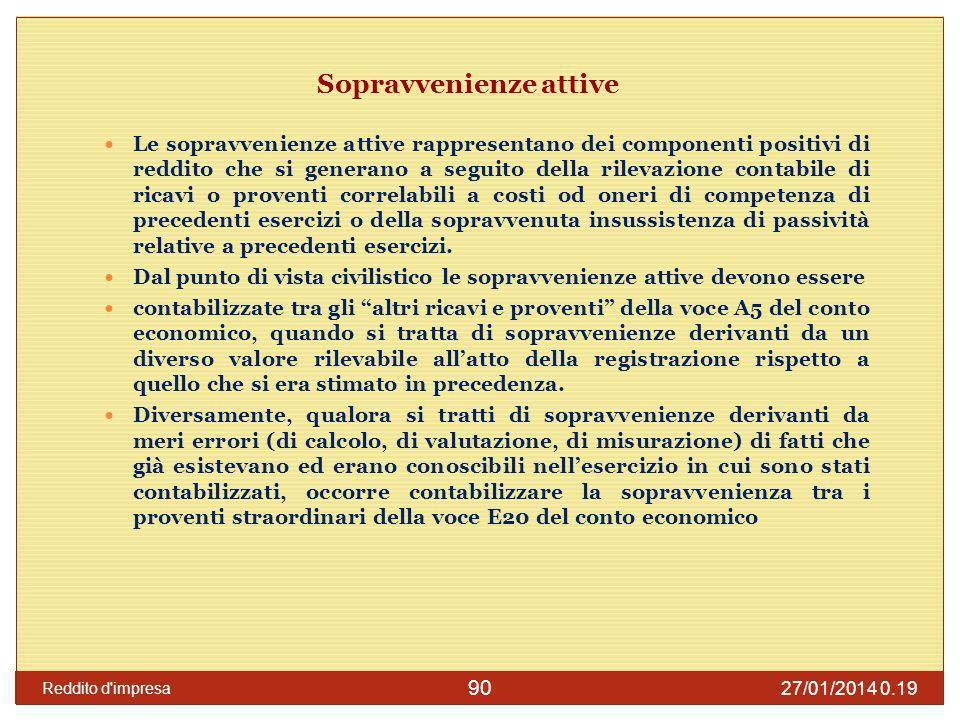 27/01/2014 0.21 Reddito d impresa 91 Sopravvenienze attive Con lart.