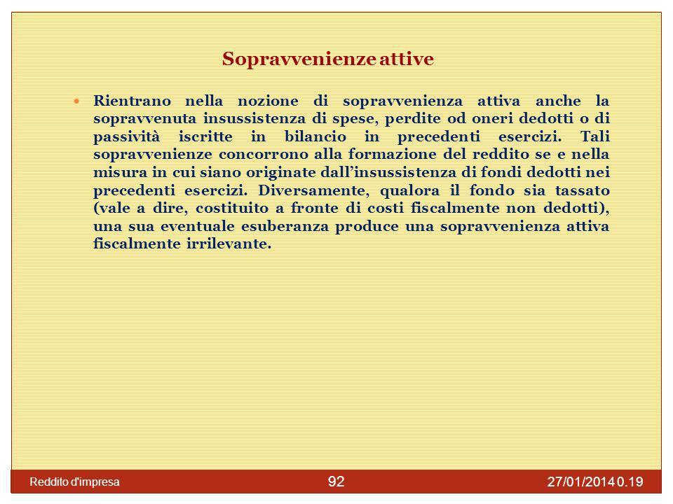 27/01/2014 0.21 Reddito d impresa 93 Sopravvenienze passive il comma 4 dellart.