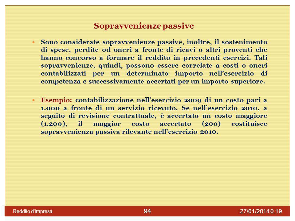 27/01/2014 0.21 Reddito d impresa 95 Sopravvenienze passive Costituiscono sopravvenienze passive, infine, la sopravvenuta insussistenza di attività iscritte in bilancio in precedenti esercizi.