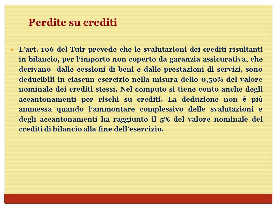 Perdite su crediti Sotto il profilo civilistico gi à il fondo svalutazione crediti non corrisponde con il fondo fiscale.