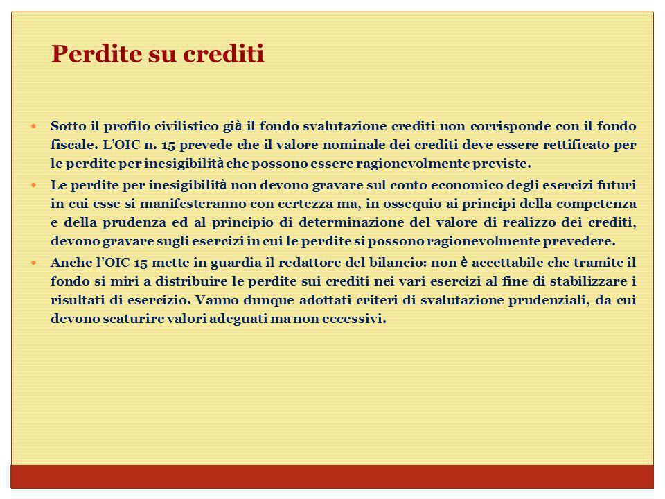 Perdite su crediti Cosa deve fare il verificatore se in relazione ad una determinata annualit à rileva che il contribuente ha appostato in bilancio somme rilevanti a titolo di perdite su crediti .