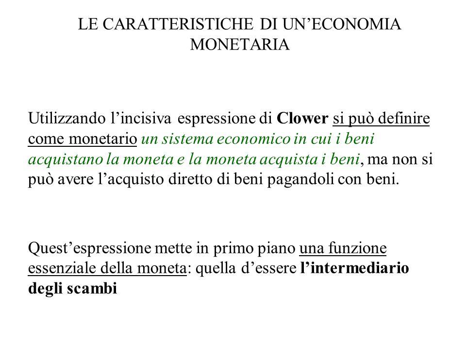 LE CARATTERISTICHE DI UNECONOMIA MONETARIA Utilizzando lincisiva espressione di Clower si può definire come monetario un sistema economico in cui i be