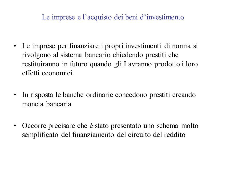 Le imprese e lacquisto dei beni dinvestimento Le imprese per finanziare i propri investimenti di norma si rivolgono al sistema bancario chiedendo pres