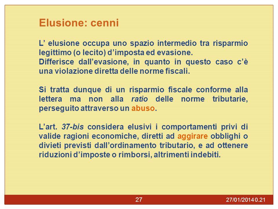 27/01/2014 0.23 27 Elusione: cenni L elusione occupa uno spazio intermedio tra risparmio legittimo (o lecito) dimposta ed evasione.