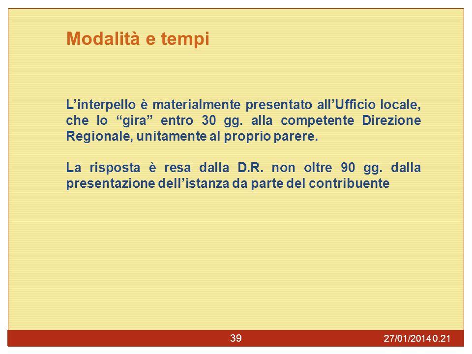 27/01/2014 0.23 39 Modalità e tempi Linterpello è materialmente presentato allUfficio locale, che lo gira entro 30 gg.