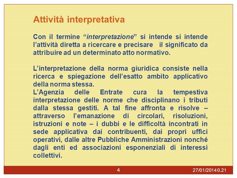 27/01/2014 0.23 4 Attività interpretativa Con il termine interpretazione si intende si intende lattività diretta a ricercare e precisare il significato da attribuire ad un determinato atto normativo.
