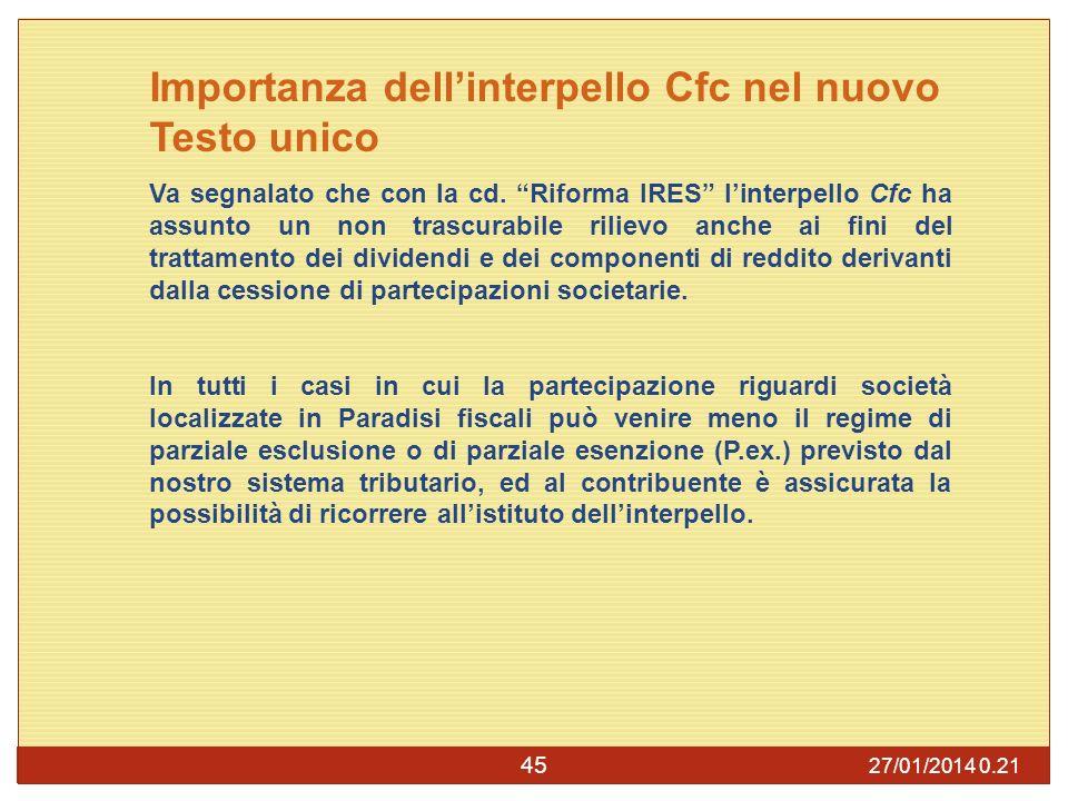 27/01/2014 0.23 45 Importanza dellinterpello Cfc nel nuovo Testo unico Va segnalato che con la cd.