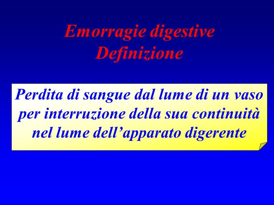 Emorragie digestive Definizione Perdita di sangue dal lume di un vaso per interruzione della sua continuità nel lume dellapparato digerente