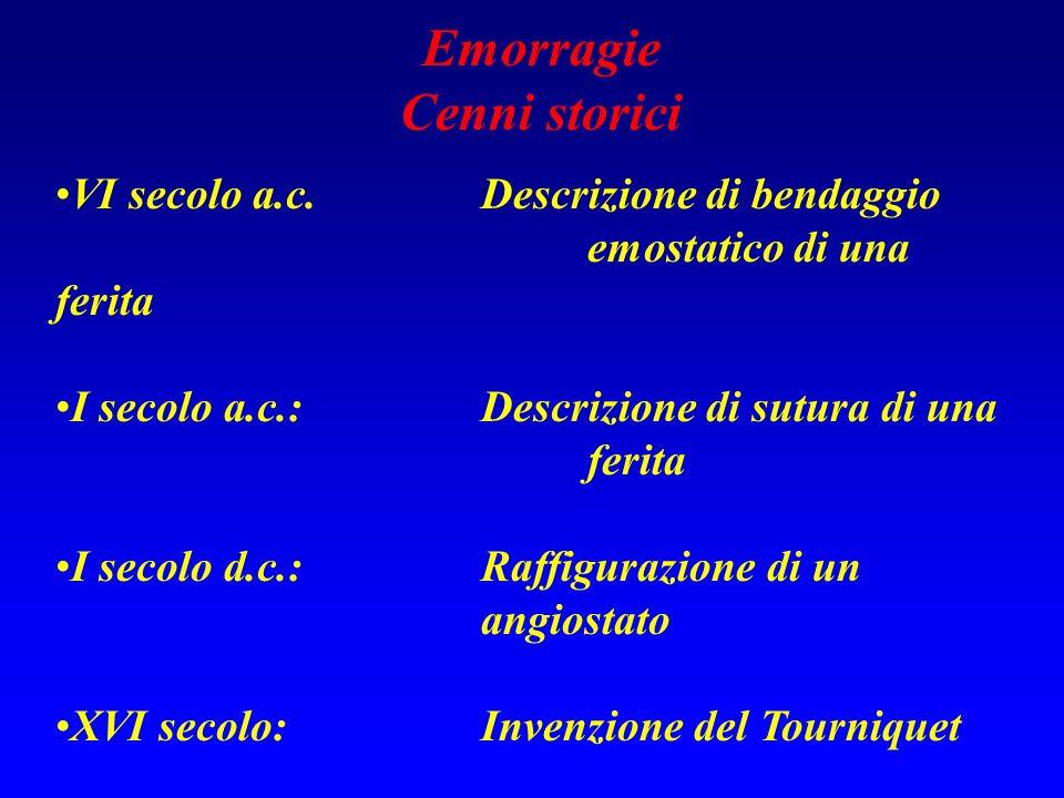 Emorragie Cenni storici VI secolo a.c.Descrizione di bendaggio emostatico di una ferita I secolo a.c.:Descrizione di sutura di una ferita I secolo d.c