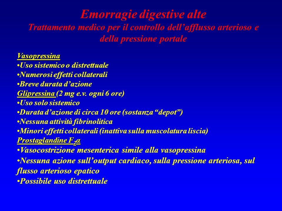 Emorragie digestive alte Trattamento medico per il controllo dellafflusso arterioso e della pressione portale Vasopressina Uso sistemico o distrettual