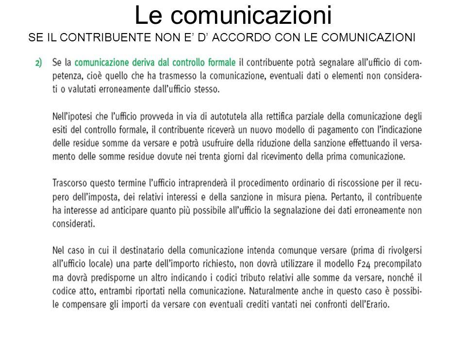 Le comunicazioni SE IL CONTRIBUENTE NON E D ACCORDO CON LE COMUNICAZIONI